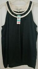 American Rag Top Black Ivory Floral Tank Lace Satin Trim Neck Womens Plus Sz OX