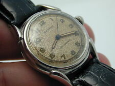 VINTAGE TURTLE LUGS STAINLESS STEEL BENRUS MANS WRIST WATCH GREAT AGED DIAL NICE