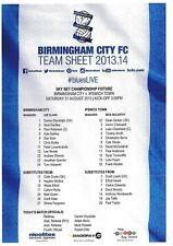 Teamsheet - Birmingham City v Ipswich Town 2013/14