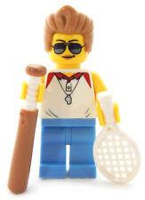 NEW LEGO P.E. COACH MINIFIG female teacher figure baseball bat tennis racket toy