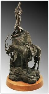 Joe Beeler Large Native American Bronze Sculpture Apache Telegraph Signed Art