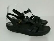 ❤ SKECHERS SHAPE UPS Size UK 10 Lovely Black Leather Sandals Buckle Fasten VGC
