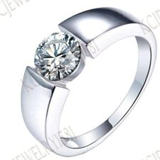 Sterling Silver Round 6.5mm Cubic Zirconia Solitaire Wedding Generous Band Ring