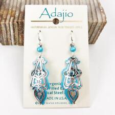 Adajio Earrings Aqua Drop Shiny Silver Ornate Art Deco Overlay Blue Bead 7815