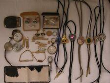 New ListingVintage Men's Junk Drawer Lot~Bolo Ties~Pocket Watches~Tie Tacks~Belt Buckle '78