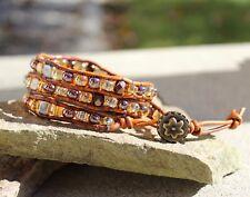 Topaz Czech Glass Beaded 3X Wrap Brown leather Bracelet 6-7 inch wrist NEW