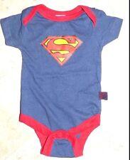 New Baby Boy's Size 0 - 3 Months DC Superman Blue Red Trim Bodysuit Snapsuit