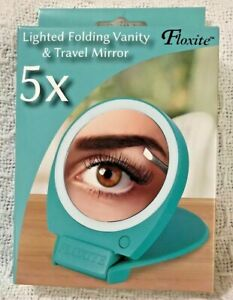 New Floxite 5X Lighted Magnifying Folding Vanity & Travel Mirror Aqua W/Box