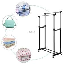 Heavy Duty Metal Garment Rack Clothes Hanging Drying Stand Rail Double Poles