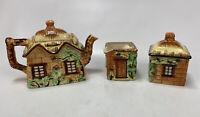 VTG Marato Mu Ware English Cottage Tea Pot, Cream, Sugar Occupied Japan 1940s