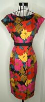 Stunning HOBBS Pink Orange Yellow Bright Colourful Silk Wool Pleat Dress UK 12