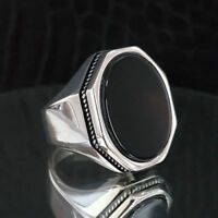 Turkish 925 Sterling Silver SOLİD Black Onyx Stone Mens man ring ALL SİZE us