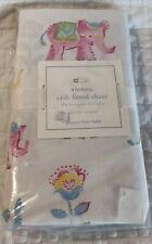 Pottery Barn Kids Vienna Elephant Pink Blue Crib Fitted Sheet Organic Cotton Nwt