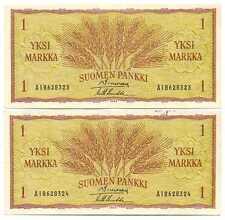 Finland Republic 2 Banknotes 1 Markka 1963 XF Consecutive Serial Numbers