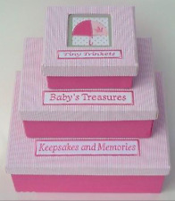 Gisela Graham Pink Fabric Keepsakes Memories Boxes - Set of 3