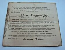 1900 TABY, WALKHAM & PLYM TROUT FISHING LICENCE ISSUED TO M A DENNIFORD