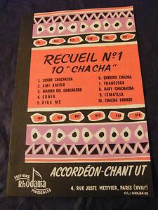 """Partition Recueil N°1 10 Cha Cha Editions Rhodania 1956 Accordéon Chant en Ut"""