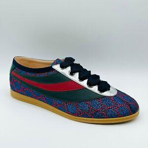 Gucci Falacer Lurex Men's Blue/Red Fabric GRG Web Sneaker 6.5G/US 7 492738 4077