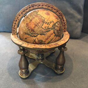 Vintage Style 6 Inch  World Globe With Brass Stand Desk Decor