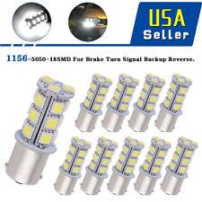 10x DC12V 1156 1141 1003 BA15S 18 SMD Interior RV Camper White LED Light Bulbs