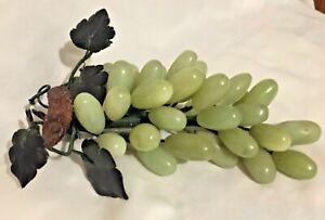 Vintage Jade Stone Celadon Grape Cluster Alabaster Onyx