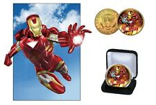 Iron Man  - 24 Kt Gold Plated Colorized JFK Kennedy Half Dollar Coin with COA