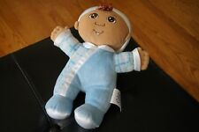 BABY Plush Cabbage Patch Kids Boy First Doll Blue Soft Brown Eyes Dark Skin Toy