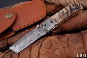Handmade Damascus Steel Pocket Knife Folding Tanto Blade / Inner Lock / Sheath