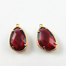 2 pcs Gold Brass Claw Base Deep Red Faceted Crystal Glass Pendants 22x13x6mm