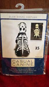 "GLOW BONES IN THE DARK COSTUME NIP CASUAL CANINE XS Dog 8"" Stretch Knit 2 piece"