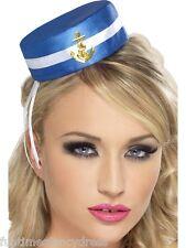 Señoras Mini Sombrero De Marinero Náutico Marina Marina Militar Pastillero Sombrero Vestido de fantasía
