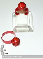 Bague ROUGE STYLE SHAMBALLA  Boule STRASS Disco taille REGLABLE NEUF