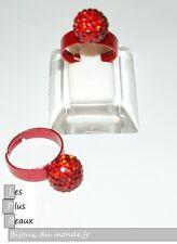 Ring RED STYLE SHAMBALLA Ball RHINESTONE Disco size ADJUSTABLE NEW