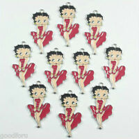Lot Wholesale 10pcs Betty Boop Metal Charm Pendants Crafts DIY Kids Gifts BIN