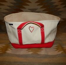 """Lands' End Red & White 12x15"""" 11.5"""" high - Candy Cane Heart Cotton Canvas Bag"""