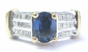 Oval Ceylon Sapphire Diamond WIDE Two-Tone Solid Gold Jewelry Ring 14KT 2.22Ct
