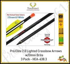 """Ten Point 20"""" Pro Elite 2.0 Lighted Crossbow Arrows Illuminated 3Pk - Hea-638.3"""