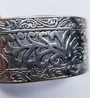 Wide Mixed Metal Bangle Bracelet Copper Inside Silver Tone Engraved Leaves Boho