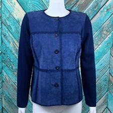 St. John Women's Cardigan Sweater 14 Navy Wool Blend Silk Lined Lamb Suede
