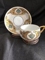 Antique KPM  CUP & SAUCER Art Nouveau Initialed P.M.W. mark 1904-1927
