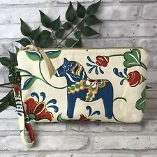 Swedish Dala Horse Ivory Blue Dalahäst Kurbits Knitting Needle Case Zipper Bag