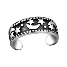 Moon Star Crescent Band Adjustable Oxidised Tjs 925 Sterling Silver Toe Ring