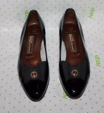 BALLY Bow Low Heel Pumps Flats Black Patent Leather Size 10.5 M
