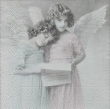 2 Serviettes en papier Anges Paper Napkins Reading Angels Sagen Vintage Design