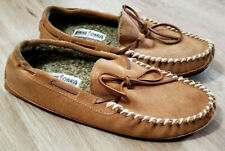Minnetonka Mens Slippers Size 10 Casey Moccasin Brown