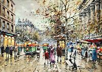 Flower Walk of the Madeleine, Paris Painting by Antoine Blanchard Reproduction