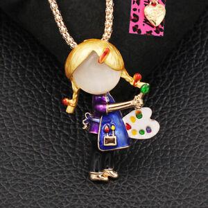 Betsey Johnson Cute Enamel Little Girl Drawing Pendant Chain Necklace/Brooch Pin