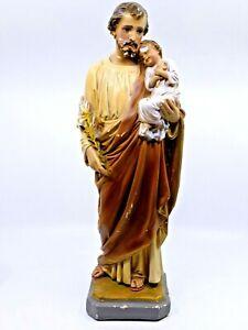 "Antique Religious Statue Saint Christopher Chalkware Statue / 16"" Tall"