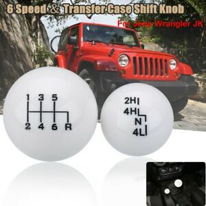 "Car Ball Style 6Speed White Shift Knob Head for Jeep/Wrangler 'YJ's ""TJ's""&""JK's"