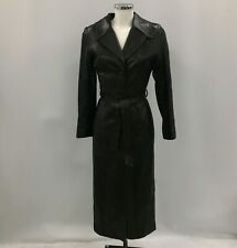 Vert Couvert Long Coat Womens Size UK 12 Black 100% Leather Autumn/Winter 291927